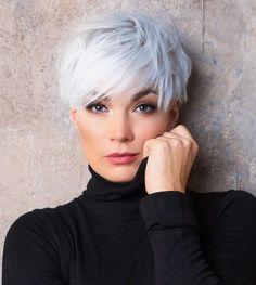 Short Silver Hair, Short White Hair, Edgy Short Hair, Short Hair Cuts For Women, Short Hairstyles For Women, Thick Hair Pixie Cut, White Pixie Cut, Grey Hair Styles For Women, Blonde Pixie Hair