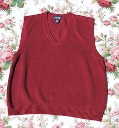 Lands' End Men Red Sweater Vest Size L 42-44 #LandsEnd #Vest
