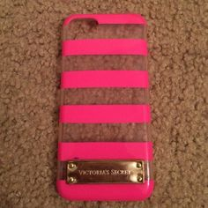 BUNDLE  Victoria Secret iPhone 5/5s cases Pink and clear iPhone case with another light pink and white striped case. Victoria's Secret Accessories Phone Cases