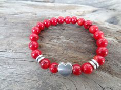 EXPRESS SHIPPINGRed Coral Bracelet Unisex Heart Bracelet