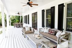 The veranda of Cricket Pavilion, a British Colonial home for rent on Harbour Island, The Bahamas. Outdoor Rooms, Outdoor Living, Outdoor Decor, Outdoor Seating, Outdoor Office, Outdoor Balcony, Outdoor Areas, Outdoor Projects, British Colonial Decor