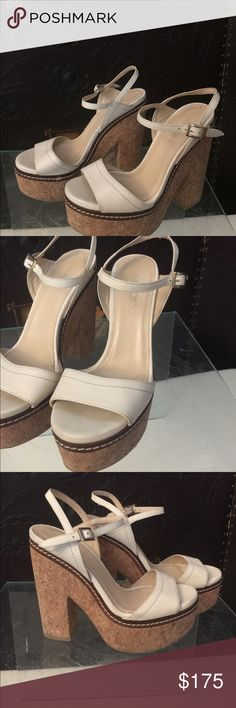 Jimmy Choo leather  cork platform Jimmy Choo Naylor sandals size 38 1/2. 8.5  with adjustable ankle strap with a silver-tone buckle closure. Jimmy Choo Shoes Mules & Clogs