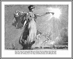 1916 Magazine illustration 'Red Cross' - 'Our Lady with the Lamp'  Pen and Ink Art by Franklin Booth'