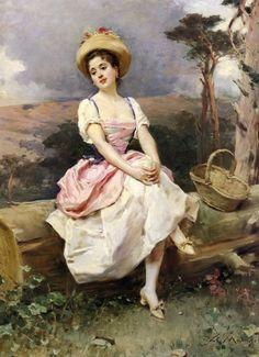 """""""A rest along the way"""" by Raimundo de Madrazo y Garreta (1841-1920)."""