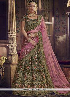 b04f2a8a6574a8 Imposing Green Resham Lehenga Choli New Lehenga Choli, Choli Dress, Sarees,  Bollywood Dress