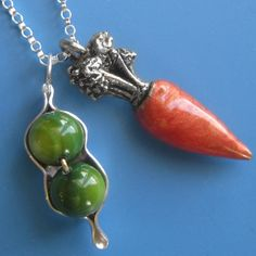 Peas and Carrots Necklace by sudlow on Etsy