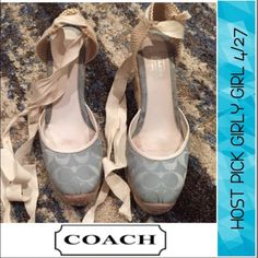 Host Pick Coach Light Blue Logo Ballerina Wedges Coach Light Blue Logo Woven Wedge Ballerina shoes. Wedge is 3.5 inches. Great condition. See in front of shoes, the front is pulling apart a bit, but can be glued or fixed. Some dirt on the bottom of the shoes that can be cleaned. They look great on, I can't model because they are too big. Feel free to make an offer. Coach Shoes Wedges