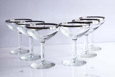 Mid Century Champagne Coupe Saucer Set of 6 with Silver/Platinum Rims -Great Condition - Mad Men and Great Gatsby Style!