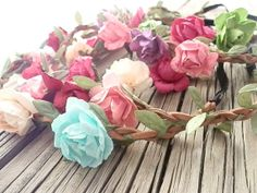 Flower Crown headband rose flower crown boho headbands by myfashioncreations, $38.50