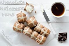 Breakfast for sweets-loving freaks like us: Vegan Chocolate Hot Cross Buns.