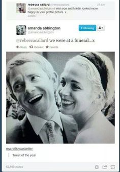 Amanda Abington and Martin Freeman at a funeral!!
