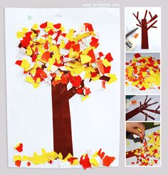 Good fine motor activity for kids, tearing paper to make the tree leaves.