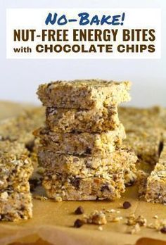 These Easy Nut-Free, No-Bake Energy Bites with Chocolate Chips are magnificent! They are sweet, chewy, crunchy, & healthy. Only minutes to make & no Baking! Nut Free Snacks, Healthy Snacks, Healthy Eats, Healthy Recipes, Healthy Breakfasts, Eating Healthy, Clean Eating, Protein Snacks, High Protein