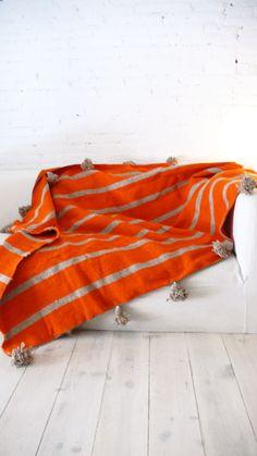 Image of Moroccan POM POM Wool Blanket - Orange with Grey Stripes by Meuima