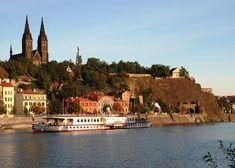 "Steamboat ""Vyšehrad"" under Vyšehrad fortress, Prague, Czechia"