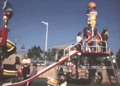 THE MAD PROFESSOR SLIDE || Children clamour down the Professor's slide, near another famous slide in the park. I created this GIF from the rare McDonaldland Promotional Video. In the 16mm 12-minute industrial film from 1972, Setmakers shows off the large line of park-like attractions they could build and install to attract customers to McDonald's using the setting of the 1971 opening for the very first Playland in Chula Vista, California.