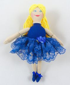 Ballerina Doll in Blue Tutu  Handmade Toy Doll  by JoellesDolls