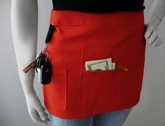 Camarera delantal - rojo - arte Mostrar delantal - vendedor delantal - medio delantal - anfitriona delantal