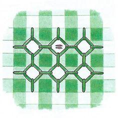 Сетка ромбов на клетчатой ткани, выполненная в технике *Цыплячьи лапки* | Рукоделие для дома : ДЛЯ НАЧИНАЮЩИХ