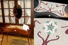 Peinadora en hierro forjado, decorada con mosaicos en trencadís. Inspiración modernista