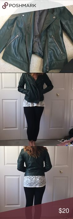 ⚡️Flash sale ⚡️Green faux leather jacket Only worn one time. It could fit a small or medium. It's super soft. Zips. Small mark on front that isn't noticeable at all while wearing it in 4th picture. It looks like makeup that could easily come off Forever 21 Jackets & Coats