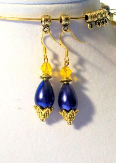 Yellow Gold Swarovski Crystals & Royal Blue Tear Drop Dangle Earrings