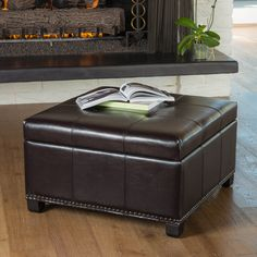 The Shauna ottoman is both comfortable and convenient. Upholstered in espresso bonded leather, its removable storage compartment is a great way to keep spaces clutter free and its soft padded top is perfect for additional seating.