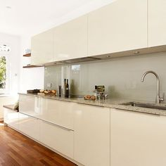 Galley kitchen layout | Kitchen tour | Galley kitchen with hi-gloss units | housetohome.co.uk