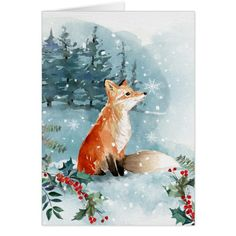 Woodland Fox Watercolor Christmas Forest Card #cards #christmascard #holiday