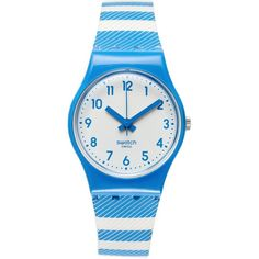Swatch Watch, Women's Swiss Blue Tracks Gray And Blue Printed Silicone... ($50) ❤ liked on Polyvore
