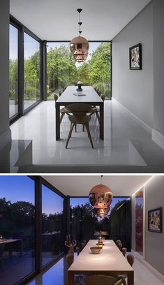 A glass enclosed extension created a dining room with views for this home