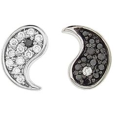 Sydney Evan Diamond Yin and Yang Stud Earrings ($460) ❤ liked on Polyvore featuring jewelry, earrings, accessories, stud earrings, earring jewelry, diamond stud earrings, long diamond earrings and black and white diamond earrings