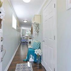 Sherwin Williams Sea Salt Paint Color Schemes - Interiors By Color Light Blue Paint Colors, Light Blue Paints, Neutral Paint Colors, Paint Color Schemes, Hallway Wall Colors, Hallway Paint, Hallway Walls, Hallway Ideas, Most Popular Paint Colors