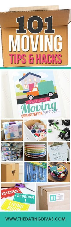 Over 100 packing, cleaning, and moving tips, ideas, and hacks to make your move easier! #1 is the best part of this whole thing. A printable Moving Binder- including an awesome moving timeline, checklists, cute moving announcement cards, and everything! www.TheDatingDivas.com