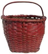 """X232 Late 19th century Gathering Basket with the original red  paint, single wrapped rim, steamed and bent fixed handle , open weave bottom, for ventilation,  weave added foot 11"""" diameter x 9 1/2"""" tall side x 13 1/2"""" including the handle"""