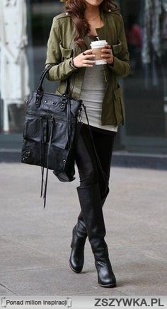Olive Colored Jacket, Leggings & Boots