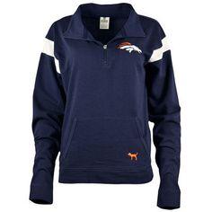 Women's Denver Broncos PINK by Victoria's Secret Navy Bling Half-Zip Pullover Jacket-- LARGE