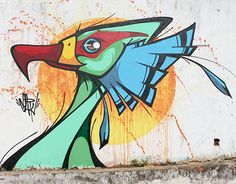 7 graffiti bird character by Fernando Garroux Sao Paulo, Brazil. there is also graffiti bird character in print. I think this is a great work of art. Graffiti Art, Murals Street Art, Street Art Graffiti, Mural Wall Art, Abstract Wall Art, Posca Art, Watercolor Pencil Art, Graffiti Characters, Wall Drawing