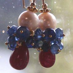 Ruby Kyanite and Akoya Pearl Earrings by BrokenTeepeeDesigns, $59.95