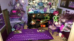 Room 14a The Purple Room. A combined bedroom for Monster High dolls, Spectra Vondergeist, Abbey Bominable, Twyla, Ellissabat and Jinafire Long.  http://www.superbuddiesforever.com/ #monsterhighdollhouse #dollbed