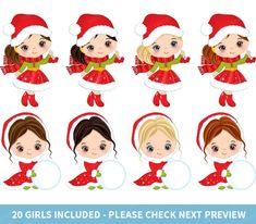 Christmas Girls Clipart Vector Christmas Clipart Little | Etsy