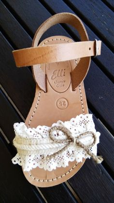 Handmade leather sandals with lace designed by Elli lyraraki Baby Girl Shoes, My Baby Girl, Kid Shoes, Girls Shoes, Kids Sandals, Cute Sandals, Cute Shoes, Baby Girl Fashion, Kids Fashion