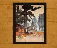 Japanese Art Poster  Way to Kasuga Shrine 1838  by VoyagesVoyages