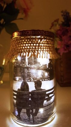 Lit Mason Jar with a Picture