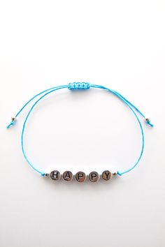 Personalized Handmade Bracelet - Turquoise Satin Cord + Sterling Silver alphabet design + Sterling Silver beads - Loving Memento *FREE WORLDWIDE SHIPPING*