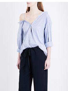 THEORY Tamalee pinstriped cotton-poplin shirt