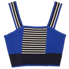 Cobalt Blue Striped Crop Top ($38) ❤ liked on Polyvore featuring tops, ribbed top, striped top, stripe top, striped crop top and blue crop top