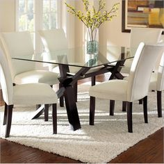 Berkley Dining Table in Espresso with Clear Glass Top