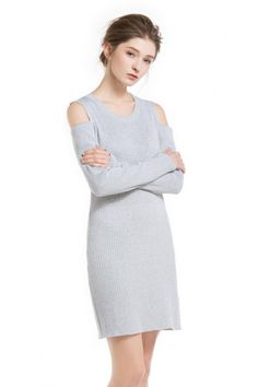 Knitbest Women's Crew Neck Long Sleeve Cold Shoulder A Line Dress Knit Sweater Dress, Knitwear, Crew Neck, Cold Shoulder Dress, Dresses For Work, Knitting, Long Sleeve, Sweaters, Clothes