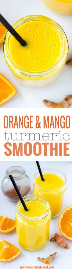 Orange Mango Turmeric Smoothie! Immune boosting smoothie that is full of nutrients and flavour! Get the recipe at nutritionistmeetschef.com